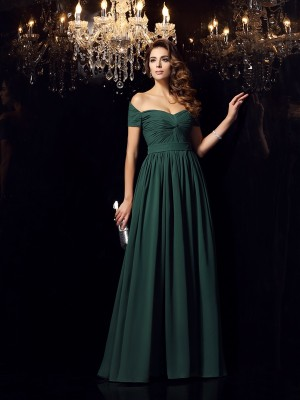 A-Line/Princess Dark Green Chiffon Floor-Length Dresses with Ruched