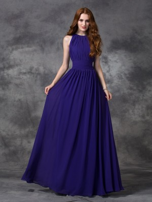 A-Line/Princess Royal Blue Chiffon Floor-Length Bridesmaid Dresses with Ruched