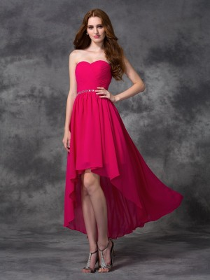 A-Line/Princess Fuchsia Chiffon Asymmetrical Bridesmaid Dresses with Beading