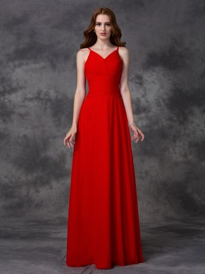 A-Line/Princess Red Chiffon Floor-Length Bridesmaid Dresses with Ruffles
