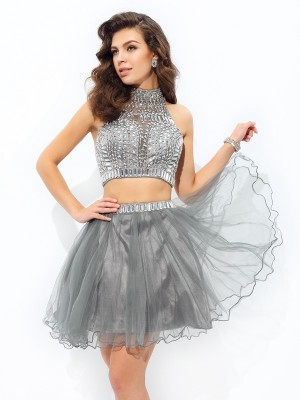 A-Line/Princess Grey Net Short/Mini Homecoming Dresses with Ruffles