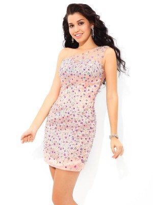 Sheath/Column Pink Elastic Woven Satin Short/Mini Homecoming Dresses with Beading