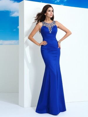 Sheath/Column Royal Blue Chiffon Floor-Length Dresses with Beading