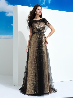 A-Line/Princess Black Net Floor-Length Dresses with Paillette