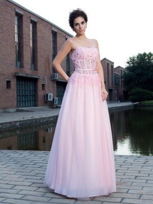 A-Line/Princess Pink Net Floor-Length Dresses with Applique