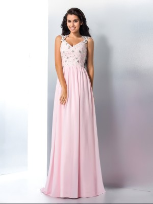 A-Line/Princess Pink Chiffon Sweep/Brush Train Dresses with Applique