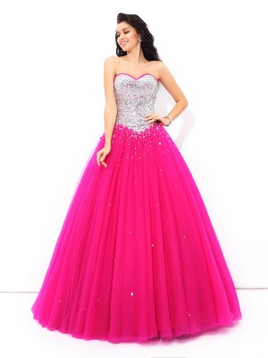 Ball Gown Fuchsia Satin Floor-Length Dresses with Beading