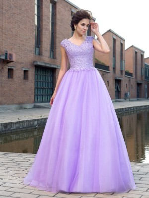 Ball Gown Lavender Net Floor-Length Dresses with Applique