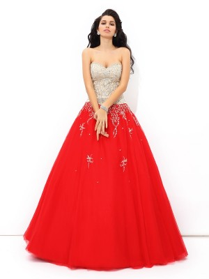 Ball Gown Red Satin Floor-Length Dresses with Beading