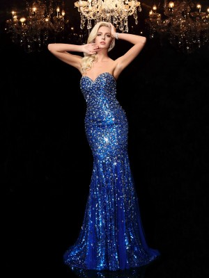 Trumpet/Mermaid Royal Blue Sequins Court Train Dresses with Sequin