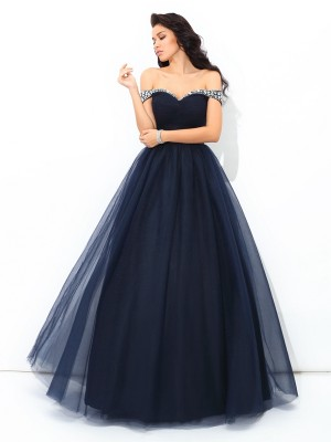 Ball Gown Dark Navy Net Floor-Length Dresses with Beading