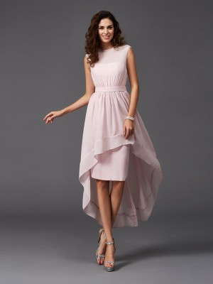 A-Line/Princess Pearl Pink Chiffon Asymmetrical Bridesmaid Dresses with Sash/Ribbon/Belt