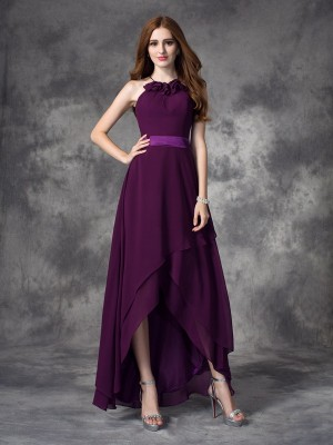 A-Line/Princess Grape Chiffon Asymmetrical Bridesmaid Dresses with Ruffles