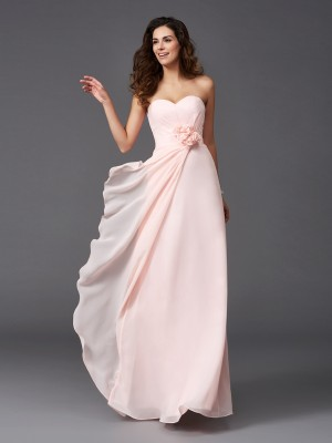 A-Line/Princess Pearl Pink Chiffon Floor-Length Bridesmaid Dresses with Hand-Made Flower