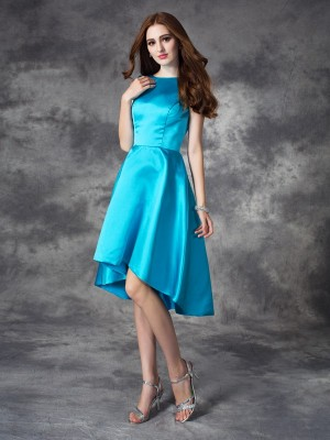 A-Line/Princess Blue Satin Asymmetrical Bridesmaid Dresses with Ruffles