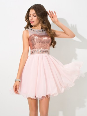 A-Line/Princess Pink Chiffon Short/Mini Homecoming Dresses with Sequin