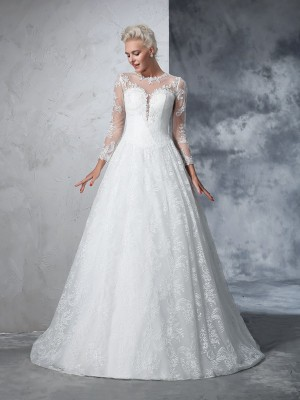 Ball Gown Ivory Lace Court Train Wedding Dresses with Lace