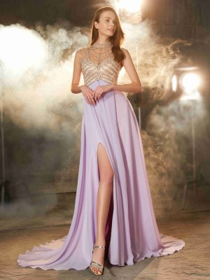 A-Line/Princess Lilac Chiffon Sweep/Brush Train Dresses with Crystal