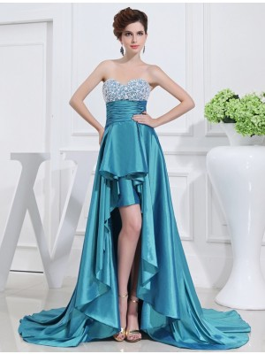 A-Line/Princess Blue Taffeta Asymmetrical Dresses with Beading