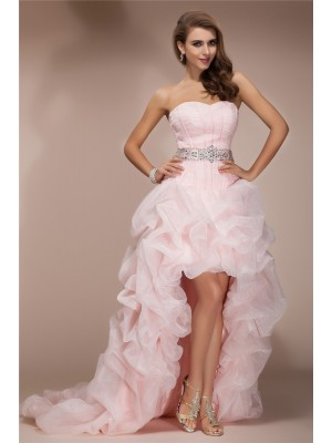 A-Line/Princess Pink Organza Asymmetrical Dresses with Beading