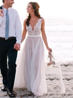 A-Line/Princess White Tulle Floor-Length Wedding Dresses with Lace