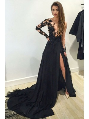 A-Line/Princess Black Chiffon Court Train Dresses with Lace