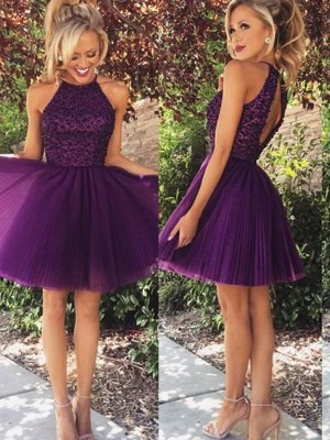 A-Line/Princess Regency Tulle Short/Mini Homecoming Dresses with Beading