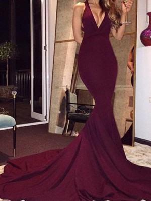 Trumpet/Mermaid Burgundy Satin Sweep/Brush Train Dresses with Other
