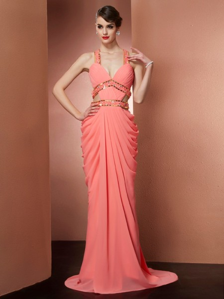 A-Line/Princess Watermelon Chiffon Sweep/Brush Train Dresses with Beading