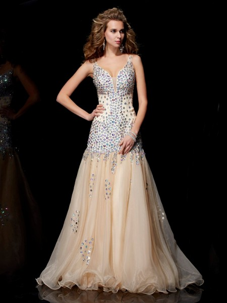 Sheath/Column Champagne Organza Floor-Length Dresses with Beading
