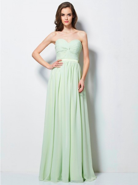 A-Line/Princess Sage Chiffon Floor-Length Dresses with Pleats