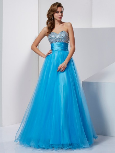 A-Line/Princess Blue Tulle Floor-Length Dresses with Beading