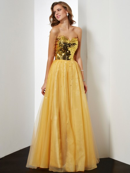 Ball Gown Gold Organza Floor-Length Dresses with Sequin