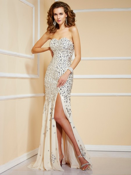 Sheath/Column Champagne Chiffon Sweep/Brush Train Dresses with Beading