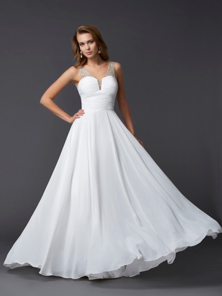 Sheath/Column White Chiffon Floor-Length Dresses with Pleats