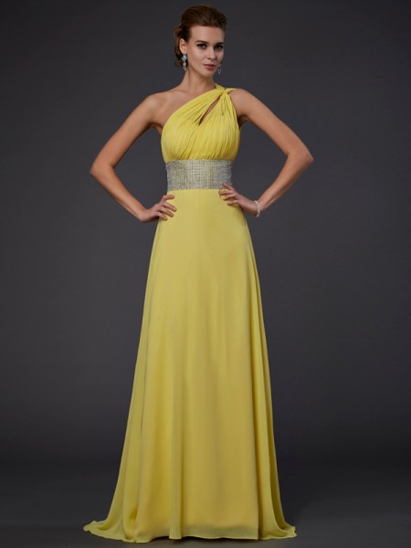 A-Line/Princess Yellow Chiffon Floor-Length Dresses with Beading