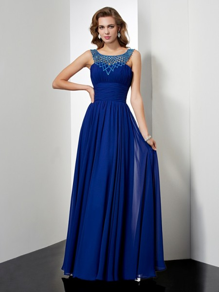 Empire Royal Blue Chiffon Floor-Length Dresses with Beading