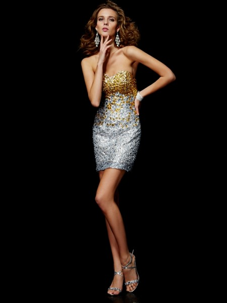 Sheath/Column Silver Lace Short/Mini Homecoming Dresses with Beading