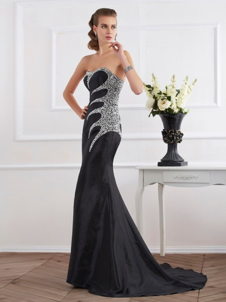 Trumpet/Mermaid Black Taffeta Sweep/Brush Train Evening Dresses with Beading