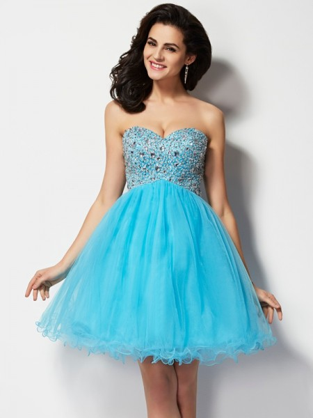 A-Line/Princess Blue Tulle Short/Mini Homecoming Dresses with Beading