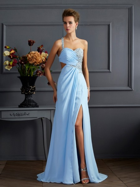Sheath/Column Light Sky Blue Chiffon Sweep/Brush Train Dresses with Beading