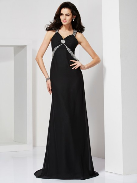 Sheath/Column Black Chiffon Sweep/Brush Train Dresses with Beading