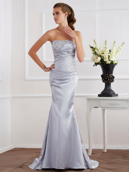 Trumpet/Mermaid Silver Elastic Woven Satin Sweep/Brush Train Dresses with Beading
