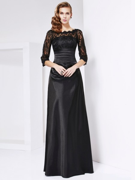 Sheath/Column Black Elastic Woven Satin Floor-Length Mother Of The Bride Dresses with Lace
