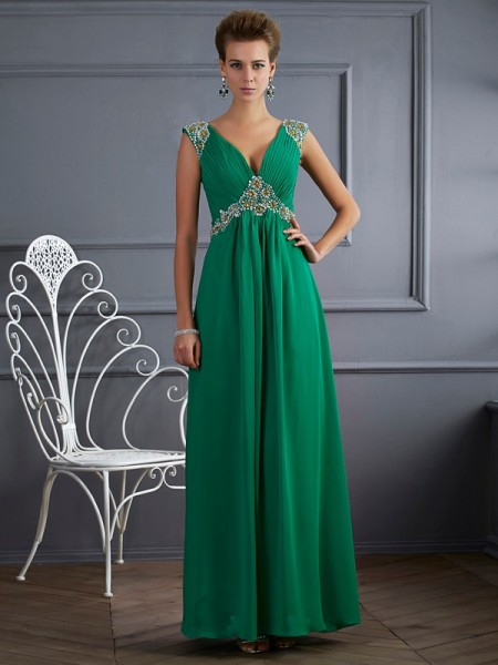 A-Line/Princess Dark Green Chiffon Ankle-Length Dresses with Beading