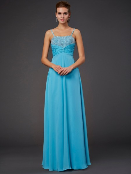 A-Line/Princess Blue Chiffon Floor-Length Dresses with Beading