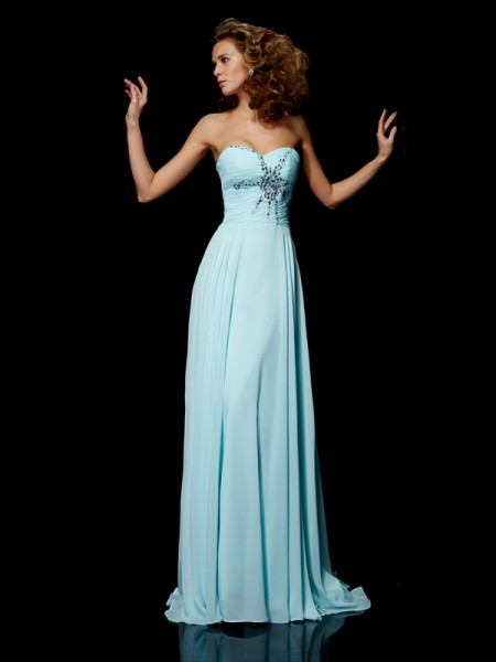 Sheath/Column Blue Chiffon Sweep/Brush Train Dresses with Beading