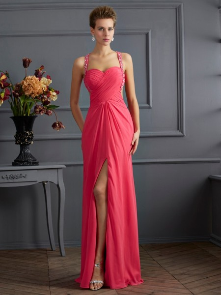 Empire Fuchsia Chiffon Floor-Length Dresses with Beading
