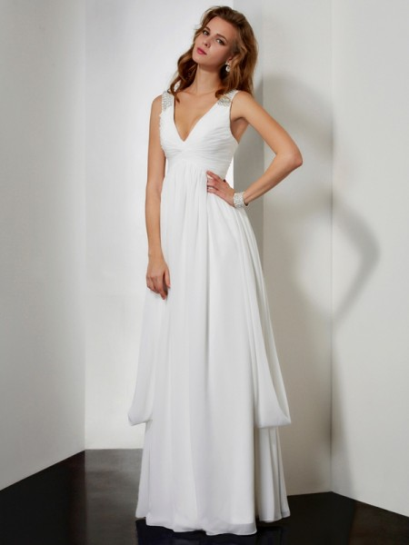 A-Line/Princess Ivory Chiffon Floor-Length Dresses with Rhinestone