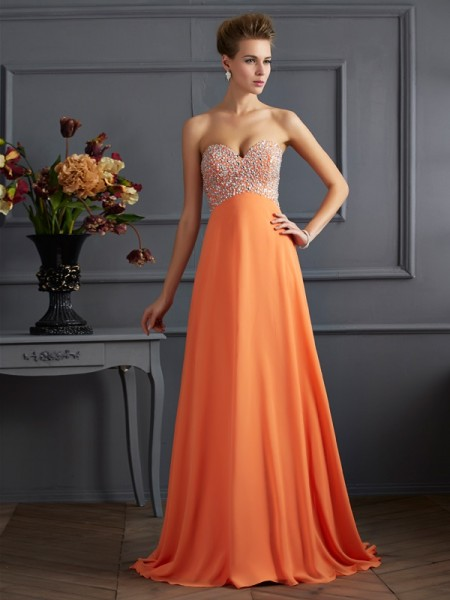 A-Line/Princess Orange Chiffon Sweep/Brush Train Dresses with Beading